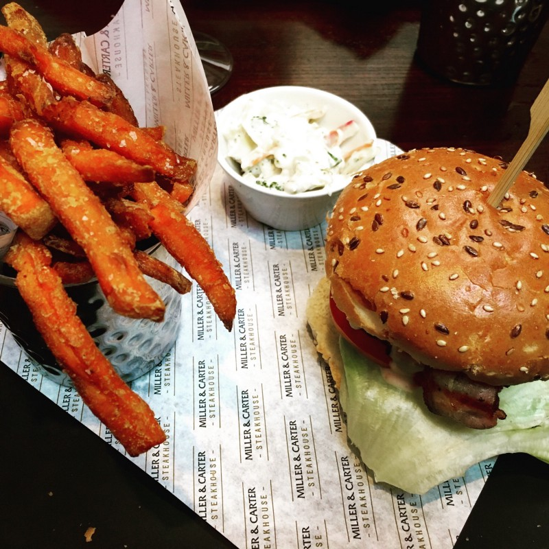 bacon and cheese steak burger with sweet potato fries